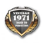 1971 Year Dated Vintage Shield Retro Vinyl Car Motorcycle Cafe Racer Helmet Car Sticker 100x90mm